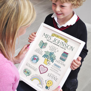 Personalised Best Teacher Thank You Print - gifts for teachers