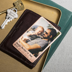 Personalised Solid Copper Wallet Photo Card - mens