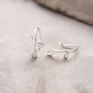 Silver Olive Leaf Hook Earrings