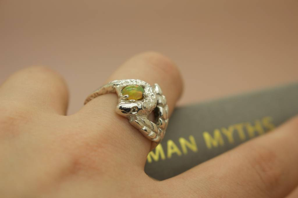 Snake And Leaf Engagement Ring With Opal Diamonds