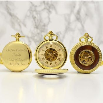 Gold And Wood Engraved Pocket Watch