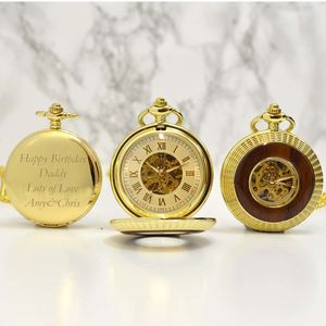 Gold And Wood Engraved Pocket Watch - mens