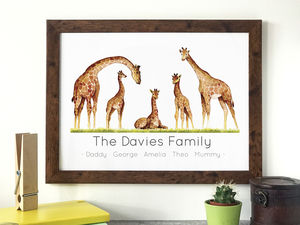 Personalised Giraffe Family Portrait Print - pictures & prints for children