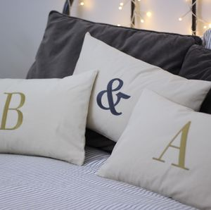Personalised Embroidered Initial Cushion - bedroom