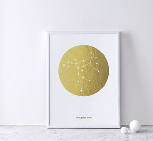 Gold Foil Constellation Print : The Great Bear - 18th birthday gifts