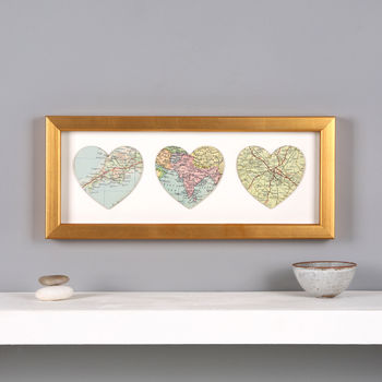 Three Map Hearts Golden Wedding Anniversary Print