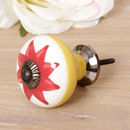Large Retro Art Deco Red Flower Ceramic Drawer Pull