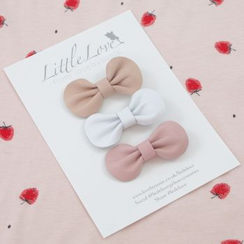 Girls Mini Pink Bow Hair Clip Set in Pink for Little Girls,  Baby or Toddlers, Pink Hair Clips, Pink Bow Hair Clip Set.