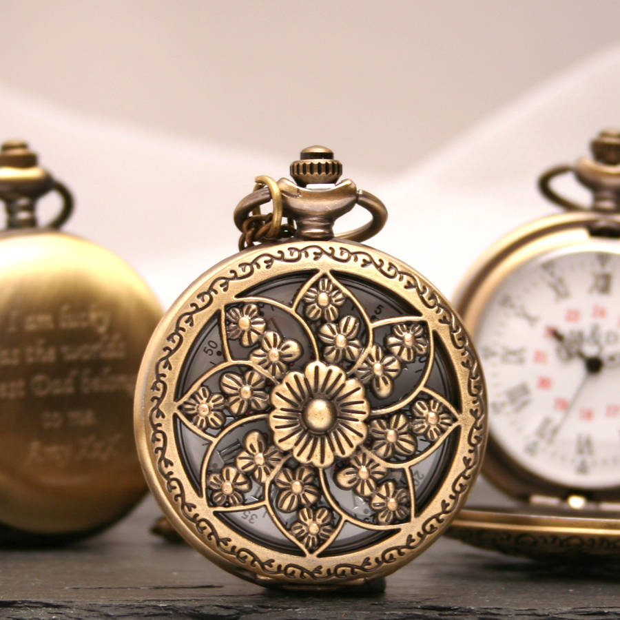 Personalised Bronze Pocket Watch With Flower Design