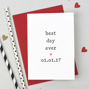 Personalised 'Best Day Ever' Wedding Day Card - wedding cards