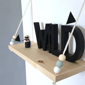 Handmade Wooden Swing Shelf - office & study