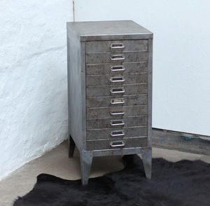 Karl Distressed Bare Steel Ten Drawer Filing Cabinet