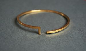 Open Gold Bangle - bracelets & bangles