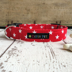 Red Midnight Star Dog Collar - pet collars