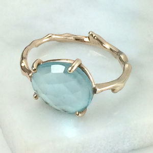 Rose Cut Sky Blue Topaz Twig Statement Ring