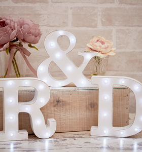 White Distressed Light Up Letters - children's room
