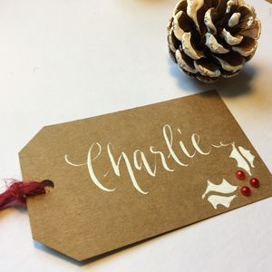 Personalised Hand Lettered Christmas Gift Tag