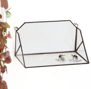 Geometric Glass Wall Shelf - office & study