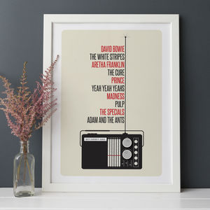 Personalised Favourite Music Print - music