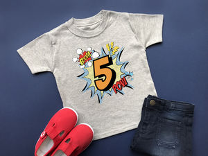 5th Birthday T Shirt, Comic Style