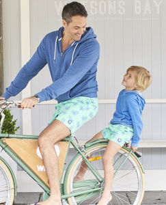 Father And Son Jade Green Pineapple Swimming Trunks