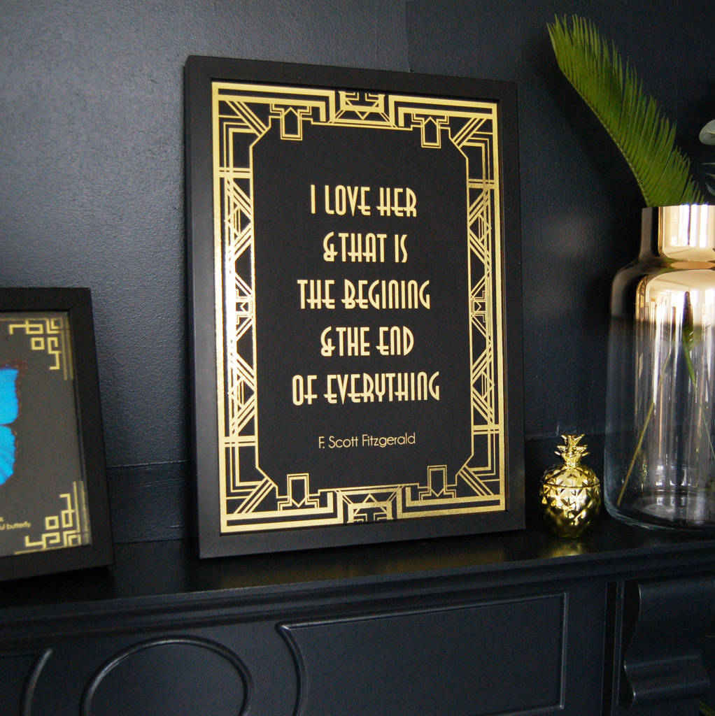 Art Deco Black And Gold Typography Print Wall Art