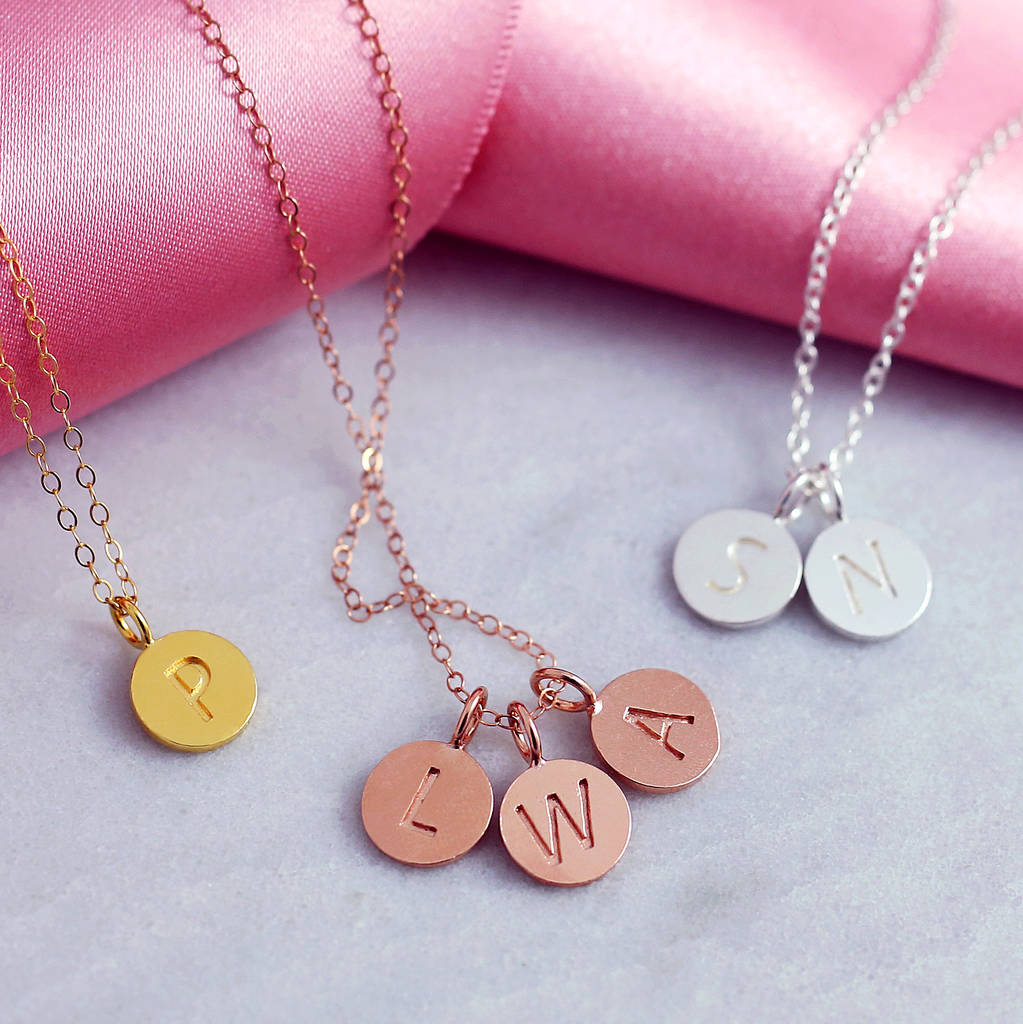Personalised Sterling Silver Disc Initial Necklace