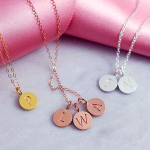 Personalised Sterling Silver Disc Initial Necklace - personalised gifts for her