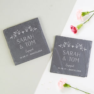 Personalised Slate Coaster Engagement Gift