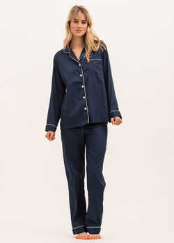 Women's Classic Navy Cotton Pyjamas