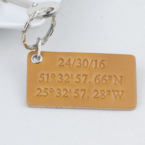 Personalised Date And Coordinates Leather Keyring