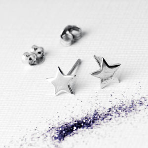 Silver Petite Star Earrings On Bespoke Gift Card