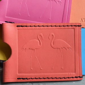 Two Flamingos Travel Card Holder