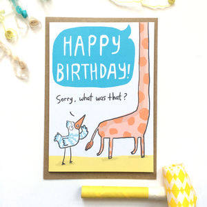 'Happy Birthday Giraffe' Greeting Card