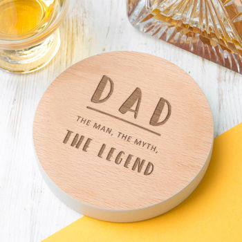 Dad 'The Legend' Coloured Edge Coaster Birthday Gift