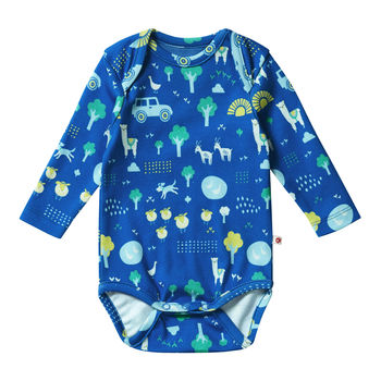 Unisex Blue Farm Themed Long Sleeved Baby Bodysuit