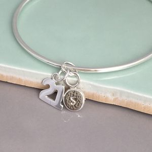 21st Handmade Personalised Silver Charm Bangle