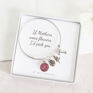 Personalised Floral Charm Bangle For Mum