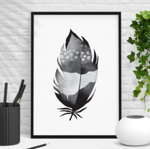 Decorative Black White Watercolour Feather