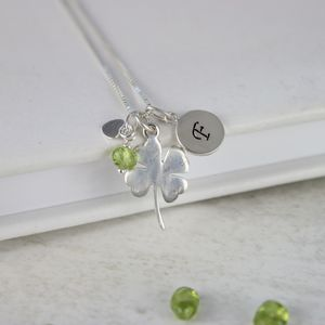 Personalised Good Luck Charm With Birthstones Necklace