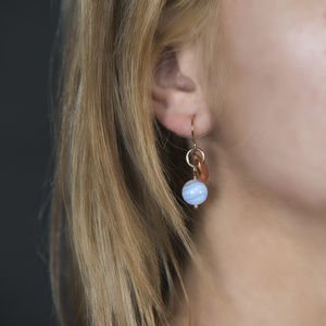 Copper Disc And Gemstone Earrings
