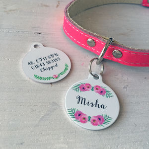 Personalised Pet ID Tag Floral - dogs