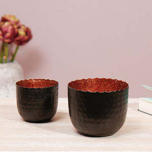 Copper And Charcoal Tealight Holder Collection