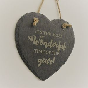 Most Wonderful Time Of The Year Hanging Slate Heart - christmas signs & decorative letters