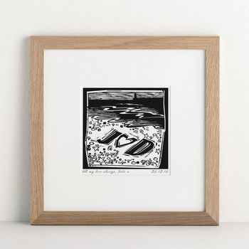 Personalised Woodcut Beach Print from Letterfest