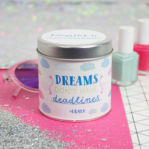 'Goals' Jasmine And Champagne Rose Scented Tin Candle