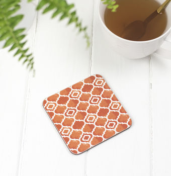 Alta Coaster, Geometric Orange Pattern