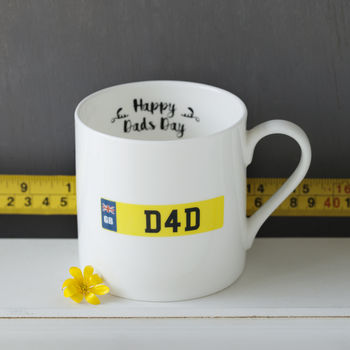 Personalised Dad's Number Plate Bone China Mug
