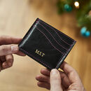 Personalised Leather Card Holder With Contrast Stitch