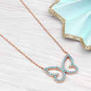 Rose Gold And Turquoise Butterfly Necklace